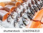 Fresh Seafood On Crushed Ice At ...