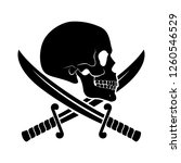 black skull side view with... | Shutterstock .eps vector #1260546529