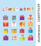 set of icons with presents and... | Shutterstock . vector #1260574159