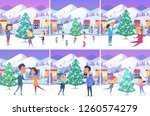 colourful poster of christmas... | Shutterstock . vector #1260574279