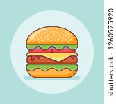 big burger flat line icon.... | Shutterstock .eps vector #1260575920