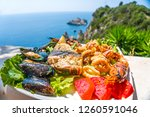 seafood platter. lunch by the...   Shutterstock . vector #1260591046