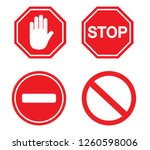 traffic sign stop set. vector... | Shutterstock .eps vector #1260598006