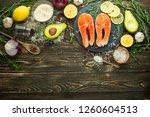 fresh fish steak trout  salmon  ... | Shutterstock . vector #1260604513
