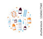 medicine items in round shape ... | Shutterstock .eps vector #1260617560