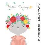 cute cat vector. t shirt design.... | Shutterstock .eps vector #1260679240