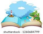 open book summer beach holiday...   Shutterstock .eps vector #1260684799