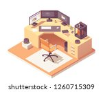 3d modeling artist office or... | Shutterstock .eps vector #1260715309
