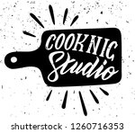 cooking studio. lettering with...   Shutterstock .eps vector #1260716353