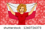 blonde girl holding a national... | Shutterstock .eps vector #1260726373