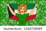 blonde girl holding a national... | Shutterstock .eps vector #1260728989