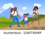happy active family hiking in... | Shutterstock .eps vector #1260730489