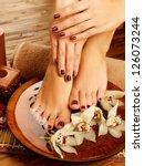 closeup photo of a female feet... | Shutterstock . vector #126073244