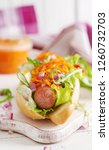 hot dog with  cucumber  carrot  ... | Shutterstock . vector #1260732703