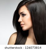 pretty woman with long brown... | Shutterstock . vector #126073814