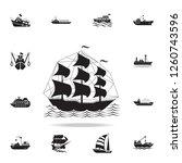Military Sailing Ship Icon....