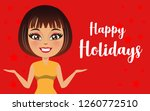 a vector of a woman wishing ... | Shutterstock .eps vector #1260772510