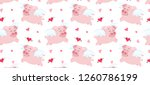 pink flying pig with cupid... | Shutterstock .eps vector #1260786199