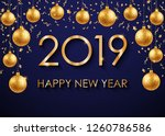 2019 happy new year gold text... | Shutterstock . vector #1260786586