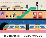 section of platform of subway... | Shutterstock .eps vector #1260790333