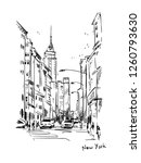 new york street  vector sketch | Shutterstock .eps vector #1260793630