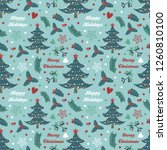 seamless pattern with spruce ...   Shutterstock .eps vector #1260810100