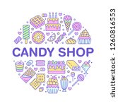 sweet food round poster with... | Shutterstock .eps vector #1260816553