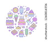 sweet food round poster with... | Shutterstock .eps vector #1260816556