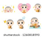 set of little cute monk ... | Shutterstock .eps vector #1260818593