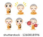 set of little cute monk ... | Shutterstock .eps vector #1260818596