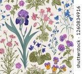 seamless floral pattern. garden ... | Shutterstock .eps vector #1260834916