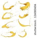 shot of yellow paint splashes ... | Shutterstock . vector #126083606
