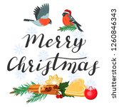 merry christmas. lettering with ... | Shutterstock .eps vector #1260846343