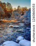 rough river in winter with snow ... | Shutterstock . vector #1260860053
