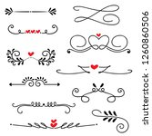 hand drawn sketched line border ... | Shutterstock .eps vector #1260860506