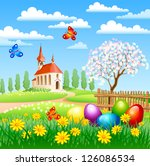 Easter Landscape With Eggs ...