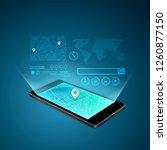 concept of mobile phone gps... | Shutterstock .eps vector #1260877150
