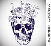 flower vase made in skull .... | Shutterstock .eps vector #1260878920