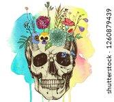 flower vase made in skull .... | Shutterstock . vector #1260879439