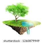 green grass island with tree... | Shutterstock . vector #1260879949
