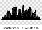 set of  city silhouette and... | Shutterstock . vector #1260881446