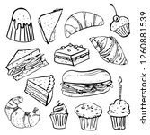sandwiches  muffins  cakes and...   Shutterstock .eps vector #1260881539