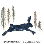 Stock photo  watercolor hand painted blue fairy hare running through the forest surrounded by trees firs 1260882733