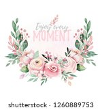 hand drawn watercolor wreath... | Shutterstock . vector #1260889753