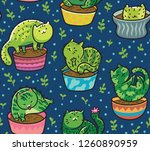 seamless pattern with... | Shutterstock .eps vector #1260890959