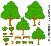 set of green pixel trees | Shutterstock .eps vector #126089108