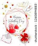 happy valentines day banner. 3d ... | Shutterstock .eps vector #1260894883