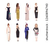 collection of girls in luxury... | Shutterstock .eps vector #1260896740