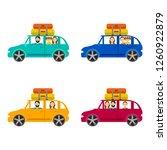 cartoon family journey by car... | Shutterstock .eps vector #1260922879