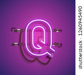 realistic neon character with... | Shutterstock .eps vector #1260945490